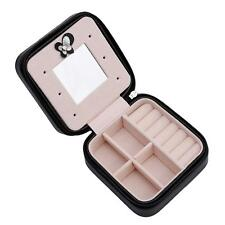 Jewelry Box Small Organizer Travel Case PU Leather Ring Holder With Mirror L