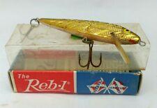 "VTG. 'THE REB-L'  MINNOW FISHING LURE #50-02 GOLD 2 1/4"" CRANKBAIT TACKLE BAIT"