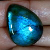 Madagascar Blue Fire Spectrolite Labradorite Pear Cabochon Natural Gemstone AA+