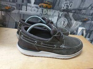 Rockport Langdon 3-eye boat Leather Men's Brown Shoes Size UK 9 EU 43.