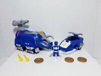 Imaginext Power Rangers BLUE RANGER TRICERATOPS ZORD, Battle Bike Coins Missiles