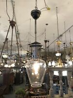 19th Century Early Victorian Converted Gas Clear Glass Ceiling Pendant Light