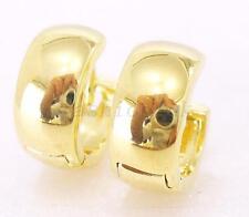 Hoop Earrings 14K Yellow Gold Plated Men Women Boy Girl Size Tiny Width 6mm