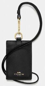 Coach ID Lanyard Badge Holder In Crossgrain Leather (Black/Gold)