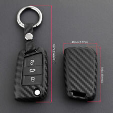 For VW Polo Golf MK7 SEAT Leon Carbon Fiber Look Car Key Keychain Cover Holder