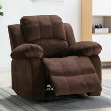 Overstuffed Velvet Manual Recliner Chair Padded Seat Back Sofa Living Room