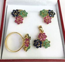 14k Solid Gold Three Flowers Set Earrings Ring Pendant, Sapphire Ruby Sapphire
