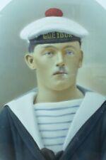 Beau portrait de Jeune Homme Marin Cuirassé Le Gueydor 1900 signé Pastel cadre