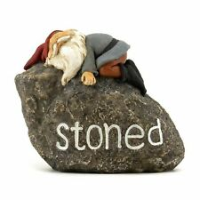 "Miniature Fairy Garden ""Stoned"" Gnome Resting on Rock - Buy 3 Save $5"