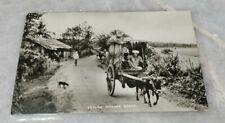 1954 Ceylon Village Buffalo Cart Kereta Kerbau 2v Stamp Photo Postcard to France