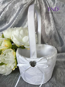 LACE FLOWER GIRL BASKET/RING PILLOW WITH HEART EMBELLISHMENTS
