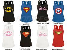 Wonder Womens t shirt Batman Barbie superman captain america Vest Tank Top S-XL
