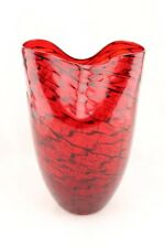 "New 11"" Hand Blown Glass Art Vase Red Fluted Italian Decorative"