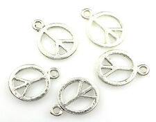 10 ANTIQUE SILVER PLATED PEACE SIGN CHARM BEADS 15MM