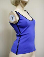 $895 NEW GUCCI Cashmere/Cotton Blue Knit Tank Top w/Leather Trim sz S