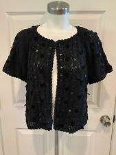 Nanette Lepore Black Velvet & Sequin Shrug Cardigan Sweater, Size L