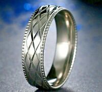6mm Stainless Steel Silver Plated Mens & Womens Wedding Band Cross Pattern Ring