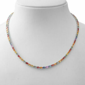 20 Ctw Oval Shape Multi Color Gemstone Tennis Necklace 14K White Gold Over