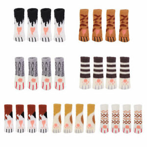 4pcs Cute Cartoon Furniture Home Chair Socks Knitting Protective Case Cat Paws