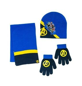 Marvel Avengers Youth Boys 3 Piece Set Beanie Hat, Gloves, and Scarf
