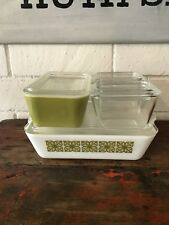 Vintage Pyrex Square Flower Green & Clear Refrigerator Dishes W/ Lids 8 Pcs