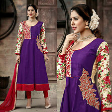 PURPLE-RED DESIGNER ANARKALI COTTON SALWAR KAMEEZ SUIT DRESS MATERIAL LADIES DEN