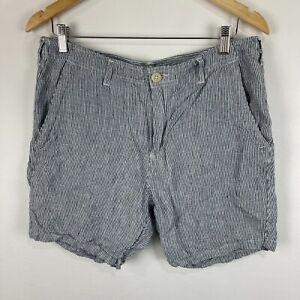Academy Brand Mens Linen Shorts 34 Blue Striped Zip Closure Bermuda Pockets