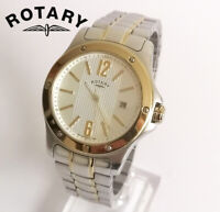 Rotary GB02566/18 men's quartz watch date stainless steel silver gold tone
