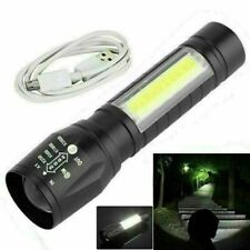 T6 COB Zoomable Light Lamp Torch with LED Flashlight USB Rechargeable Powered