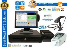 Complete Pos System,Pc America Cre WiFi/128G Ssd/8G Ram/Pole Display/Card Reader