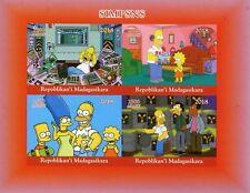 Madagascar 2018 MNH Simpsons Homer Bart Simpson 4v IMPF M/S II Cartoons Stamps