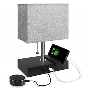 USB Table Lamp with 2 Useful USB Ports, Aooshine USB Bedside Lamp, Suitable for