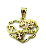 14K Yellow Gold Heart Number # 1 Daughter Charm Necklace Pendant ~ 0.9g
