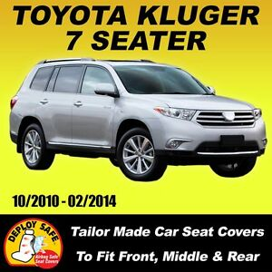 Car Seat Covers for Toyota Kluger 7 Seater, 3 Rows 10/2010-02/2014 Airbag Safe