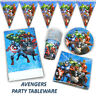Avengers Birthday Party Tableware - Plates, Napkins, Cups, Tablecover, Flags