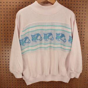vtg 90s knit cat sweatshirt size 20W pink cute kitten grandma mom ugly