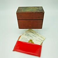 Vintage Primitive Wood Recipe Box with Recipes Handwritten Cards Dividers