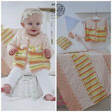 Tejer patrón Manta Chaqueta Sombrero Y Zapatos bebé impresiones 4ply King Cole 4975