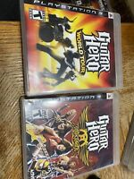 PS3 Guitar Hero World Tour and Aerosmith Lot of 2 complete case, discs and book
