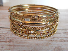 7 Gold Bangles Metal Rhinestones $28 Free People Bracelet Variety Set Of