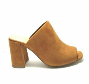Delicious Womens Brown Peep Toe Slide Slip On Heels Mule Bootie Shoe Size 7
