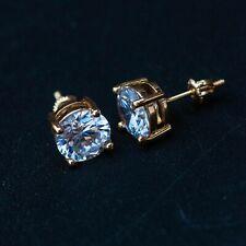 1 ct Round Diamond Stud Earrings 14K Yellow Gold Lifetime Warranty