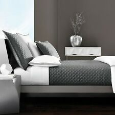Hudson Park Double Diamond Full / Queen Quilted Coverlet Charcoal Gray Grey