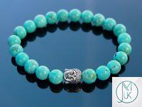Buddha Turquoise Howlite Dyed Natural Gemstone Bracelet 7-8'' Elasticated