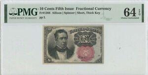Fifth Issue 10 Cents Fractional FR#1266 PMG 64 CH UNC Short Thick Key EPQ