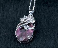 Hot Sell  Solitaire Deep purple Silver Crystal Pendant With Necklace