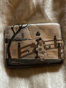 Miyamoto-Shoko .950 Sterling Silver Geisha GirL Cigarette Case, RARE