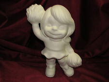 Ceramic Bisque Cheerleader Girl Smiley U Paint Ready to Paint Sports