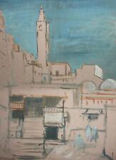 Vintage large gouache painting landscape cityscape
