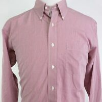BROOKS BROTHERS 346 NON-IRON SLIM FIT RED CHECK BUTTON UP DRESS SHIRT SZ 17 6/7
